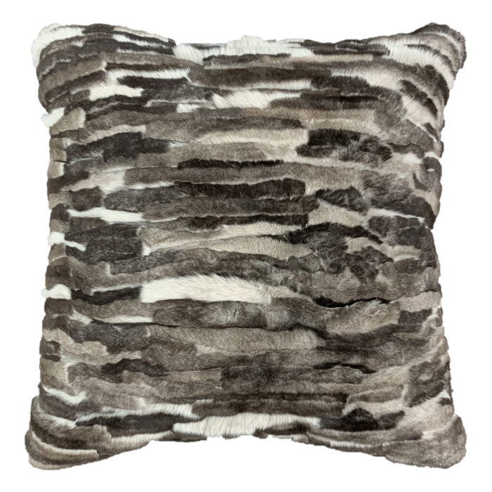 Coussin carré patchwork gris Fourrure