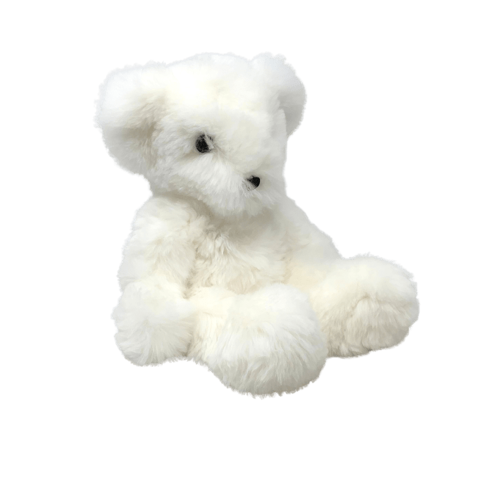 Peluche Ours Teddy Plume Blanc Poil Long
