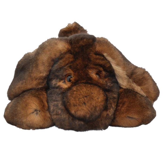 Peluche chien dormeur marron S Caresse Orylag 1