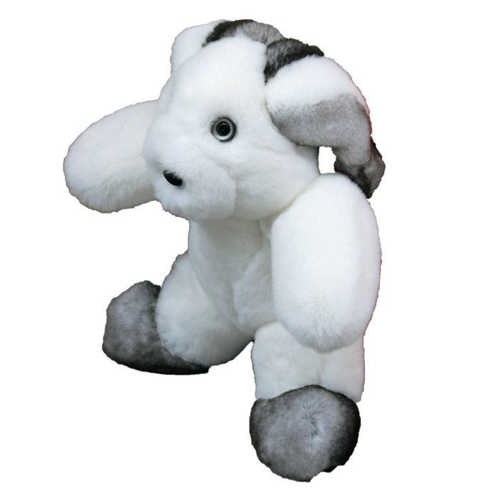 Peluche lapin blanc et gris S Caresse Orylag 1