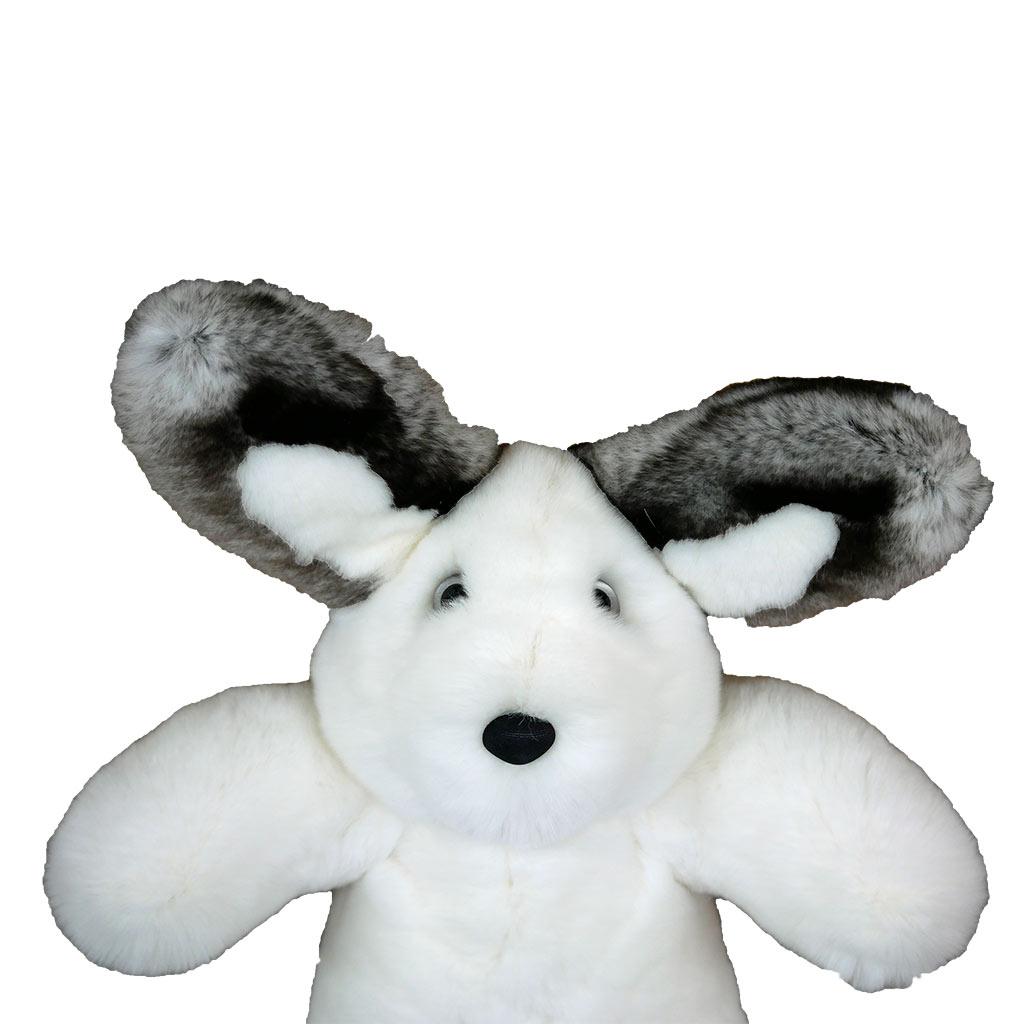 Peluche lapin blanc et gris S Caresse Orylag 2