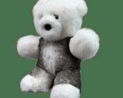 Peluche ours blanc gris profil S