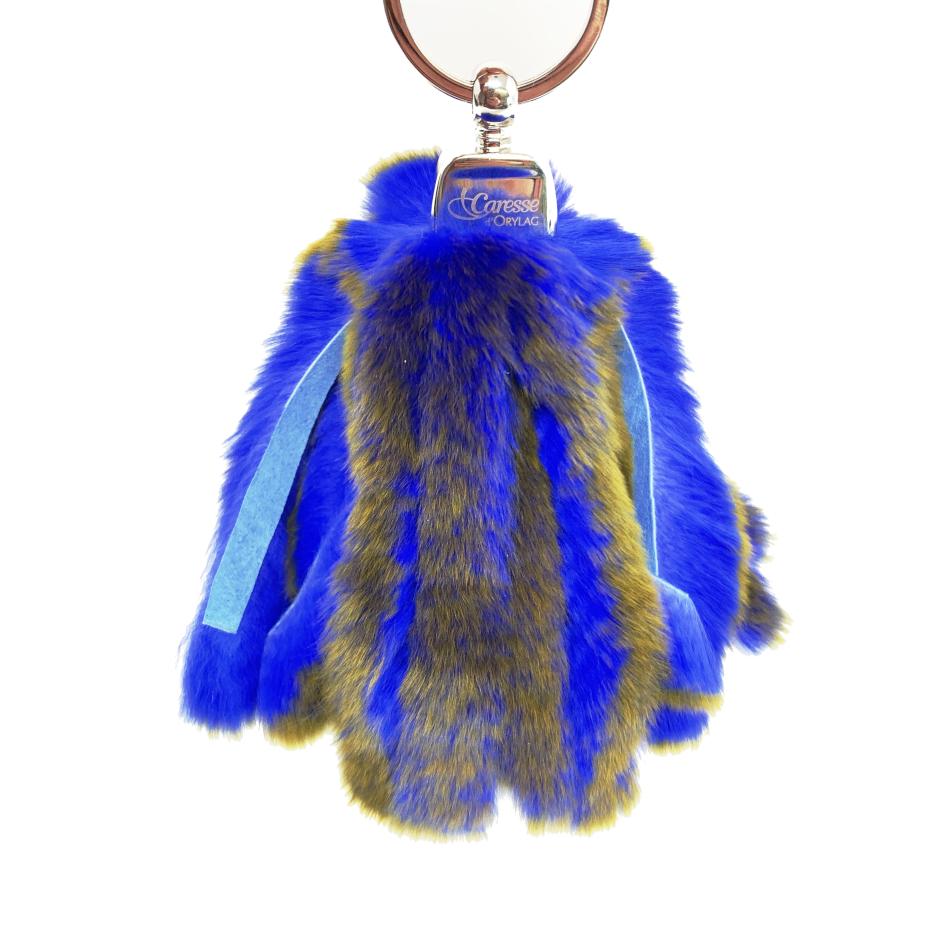 Porte clés bleu électrique reflet