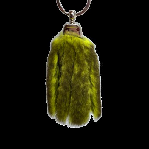 Porte-clés lanières cuir pistache