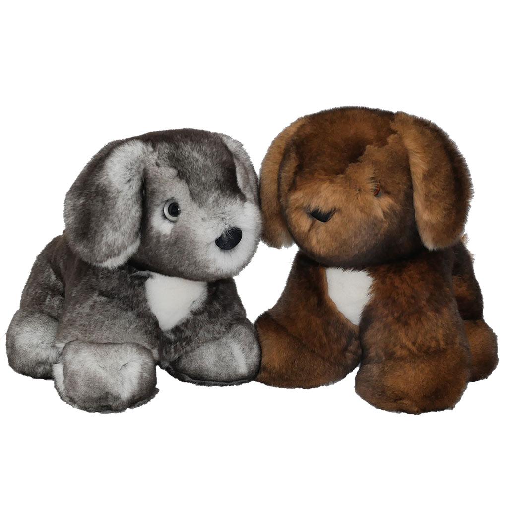 peluche chiots marron et gris caresse orylag
