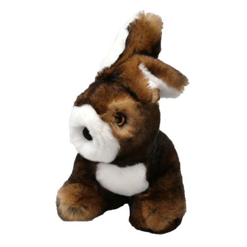 peluche lapin assis marron caresse orylag 1