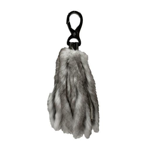porte clés lanières cuir et fourrure gris caresse orylag 1