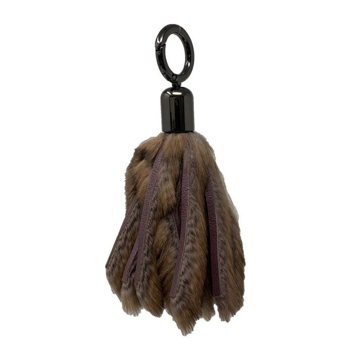 porte clés lanières cuir et fourrure rose caresse orylag 1