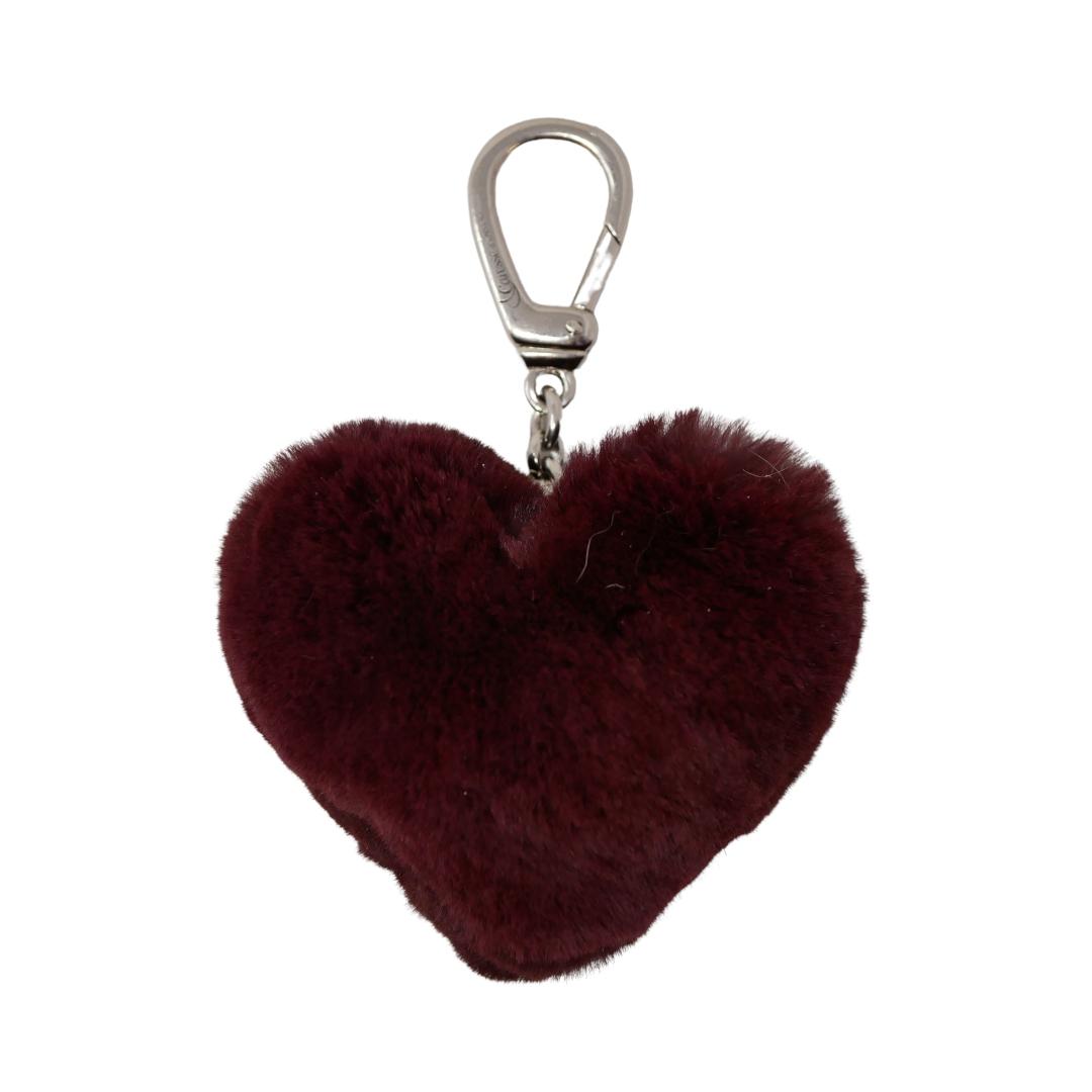 Porte clés Fourrure cœur bordeaux Rasé