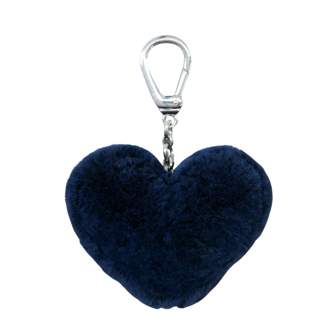 Porte clés Coeur Bleu Marine Rasé