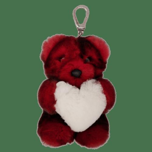 Porte clés ours Rouge Fourrure Coeur Blanc